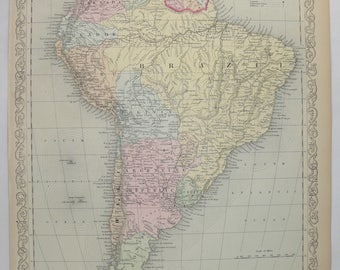 Vintage South America Map 1858 Mitchell DeSilver Map South America, Unique Wedding Gift Under 100, Graduation Gift for Student, Antique Map