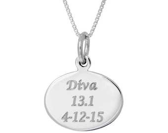 Custom Personalized Engraved Oval Finisher Charm Necklace