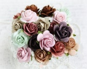 Mulberry Roses~Vintage~ Set of 20 for Scrapbooking, Cardmaking, Altered Art, Wedding, Mini Album