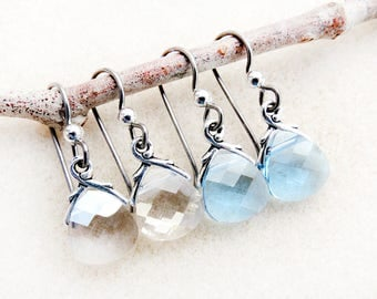 Swarovski Earrings, Aquamarine, Silver Shade, Non-allergenic, Niobium Earwires, Crystal Drop, Silver, Blue, Hypoallergenic, Handmade Jewelry