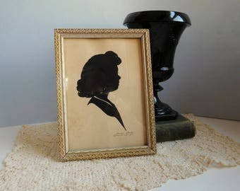 Vintage Wallie Spatz  woman silhouette picture Signed paper silhouette of woman
