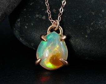 Rose Gold Fire Opal Necklace - Australian Opal - October Birthstone