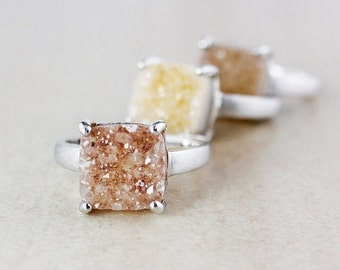 CHRISTMAS SALE Square Natural Agate Druzy Ring Set - Choose Your Druzy - Earthy Tones