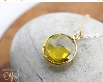 CHRISTMAS SALE Gold-Green Quartz Gemstone Necklace - 14KT Gold Fill - Simple Bezel Necklace