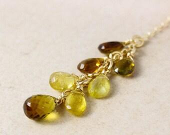 CHRISTMAS SALE Gold Multi-Tourmaline Cluster Necklace - Drop Necklace - Drop Pendant, Yellow Tourmaline, Green Tourmaline