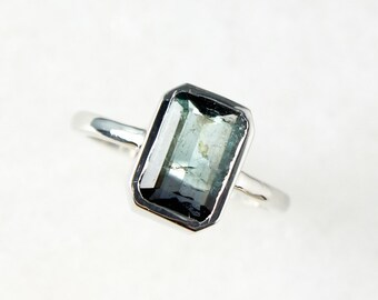 Silver Bi-Color Teal Blue Tourmaline Ring - Emerald Cut Tourmaline - Heirloom Ring