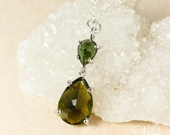 Silver Emerald Green Tourmaline & Olive Green Tourmaline Teardrop Necklace