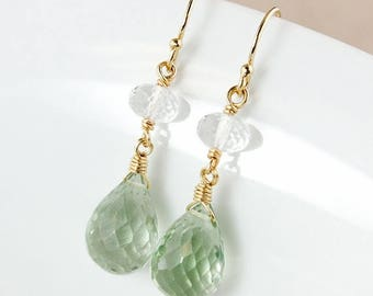 ON SALE Crystal Quartz and Green Amethyst Earrings – 14K Gold Filled or 925 Sterling Silver