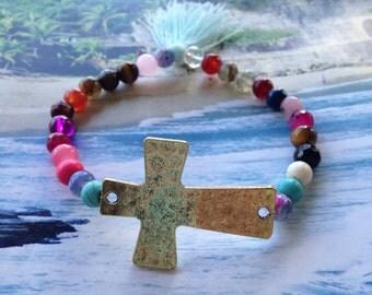 Justhipstuff Cross  Gemstone Beaded Stretchy Tassel Bracelet