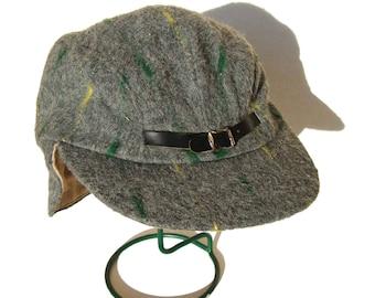 Vintage 50s Hat Mens Gray Modernist Sports Cap & Ear Flaps NOS Sz 6.75