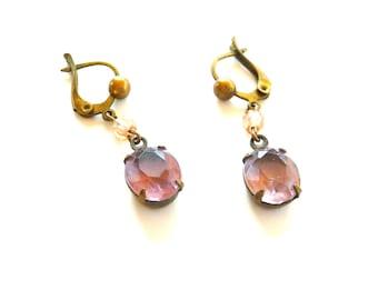 Earrings - Dangle - Purple Stone - February Birthstone - Feminine - Recycled - Eco Friendly - Romantic - wedding - Lock Clamp Closure