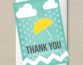 Rain and Showers Baby Shower Thank You Card - Umbrella Sprinkle Digital Printable File