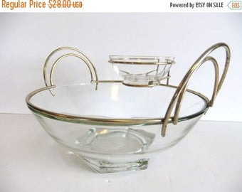 ON SALE Vintage Chips and Dip Bowl Clear Glass Mid Century