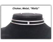"Choker with Matching Earing, Metal Steel, ""Waltz"""