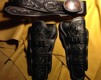 Custom Made to Order Twin Holster and Gunbelt Set