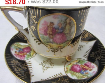 HalloweenSpecial Victorian Design In Black and Gold Royal Seal China Japan 3 Footed Cup & Saucer, Royal Seal China Japan Cup Saucer, Chin...