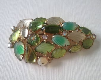 Green Leaves Glass Rhinestones Brooch Pin Accessories Vintage Jewelry