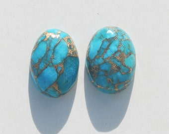 Kingman Turquoise Infused with Bronze Cabochon Oval Pair