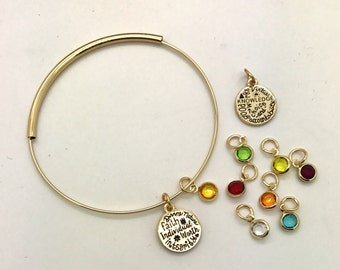 LDS Young Women's Value Bracelet, Young Women LDS Gift, YW Values Jewelry, silver or gold bangle bracelet or charms, build your own bracelet