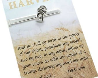 """LDS Missionary Gift - Wheat Tie Bar carded with message - """"The Field is white already to harvest"""" - Missionary Tie bar, Tie Tack, Tie Clip"""