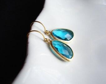 Ocean Blue Earrings In Gold, Gift For Her, Christmas Gift, Blue Drop Earrings, Vermeil Gold Earrings