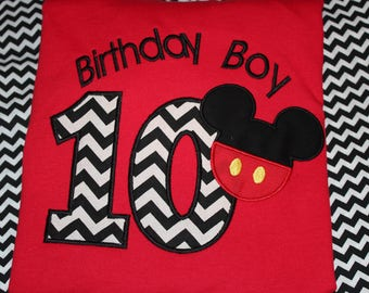 Mickey 10th birthday shirt for boy- any number