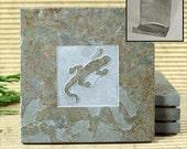 Gecko- Real Etched Slate Coaster Set with Holder