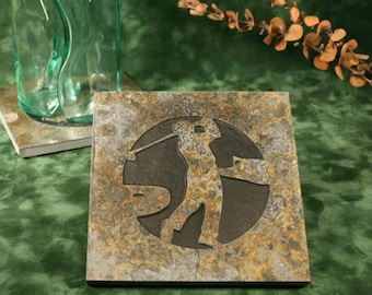 Natural Stone Trivet / Hot Plate - Golfer on CopperSlate