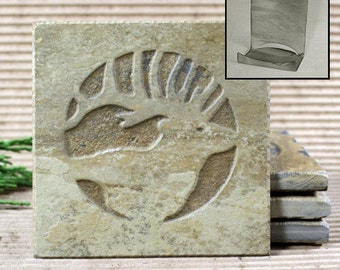 Etched Natural Stone Coaster Set with Holder - Elk Head on Buff Slate