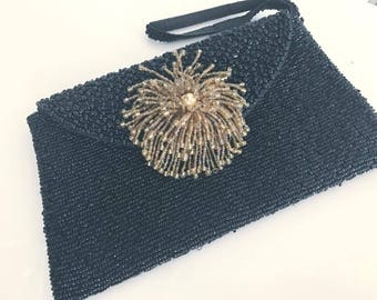 Fabulous Vintage Black Seed Beaded Evening Clutch with Large Gold Tassel Beaded Front