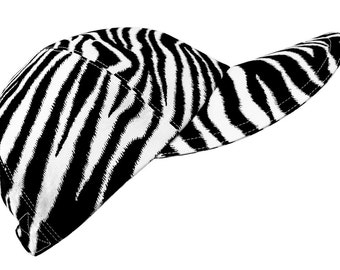 Seeing Stripes - OSFMost - Black & White Zebra Stripe Baseball Ball Cap Peau de Zebre animal skin print Sports Fashion Hat by Calico Caps