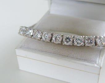 "Big Sterling Silver 925 Platinum 29ct Round Cut Tennis Cubic Zirconia CZ Diamond Like Bridal Wedding Brides Bracelet Fits 8"""