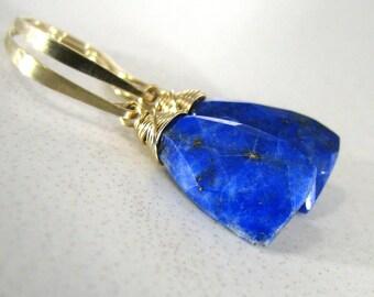 Blue Earrings, Blue Lapis Lazuli Earrings, Gold Earrings, Blue Gemstone, Lapis Lazuli Earrings, Long Dangle Earrings - Blue Skies