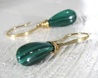Malachite Earrings, Green Earrings, Gold Earrings, Green Malachite Earrings, Wire Wrapped Earrings, Natural Malachite - Gentle Winds