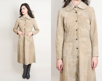 1970s Tan Suede Leather Coat - Vintage 70s Long Suede Jacket with Scalloped Detail - S