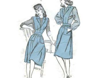 1940s Apron Jumper & Blouse Pattern Advance Patterns 3427 B31 Junior size 13