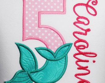 Mermaid Birthday Shirt, Mermaid Shirt or Bodysuit, Mermaid Theme Birthday Shirt, Little girls Birthday Shirt, Custom Birthday Girl Shirt