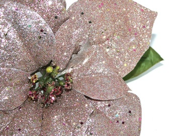 1 Jumbo Rose Gold Glittered Poinsettia - Artificial Flowers, Holiday Flowers