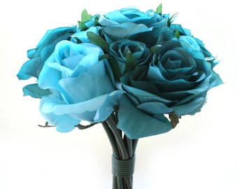 Teal and Turquoise Rose and Nosegay Bouquet - Artificial Flowers, Silk Flower Bouquet