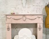 Painted Cottage Chic Shabby Pink Fireplace Mantle