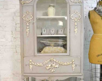 Painted Cottage Chic Shabby Gray Romantic French China Cabinet CC909