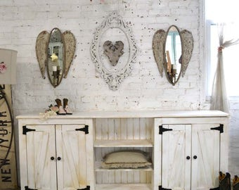 Painted Cottage Shabby Farmhouse China Cabinet/ Bookcase / Linen Cabinet/ Media Cabinet