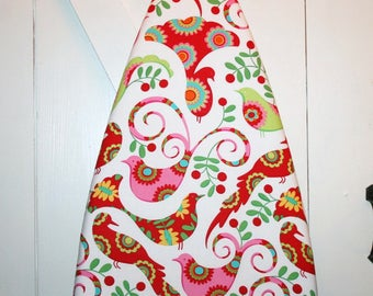 "Gorgeous Peacocks — ""Pretty Bird"" Red, Pink, and Green All-Cotton Ironing Board Cover"