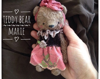 5 inch Artist Handmade Miniature Pocket Sized Teddy Bear Marie by Sasha Pokrass