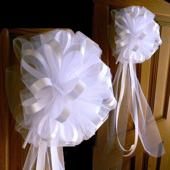 6 large 10 white assembled pew bows tulle satin by giftwrapetc - Bow decorations for weddings ...