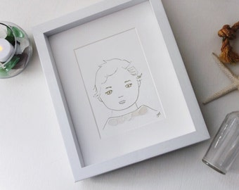 Handmade Sea Glass Art / Baby Art / Toddler Gift / Nursery Art / Baby Shower Gift / Child Art / Baby Gift /Minimalist Art / Sketch Art