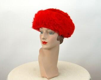 1960s fur hat lambswool shearling red fur hat winter hat