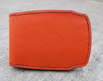 Bright orange bifold wallet