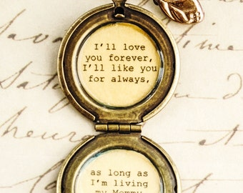 I'll love you forever I'll like you for always - my mommy you'll be - Mother Locket Antique Brass - Mom Quote - Quote Lockets - Mom and Me
