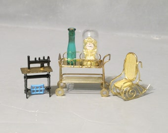 Vintage Dollhouse Miniature 5 Piece Set / Gold Metal Bar Tea Cart Rocking Chair, Sewing Machine Blue Glass Cork Top Bottle Mantle Clock